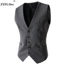 2017 new style men's Urban fashion Waistcoat business casual Slim single-row stripe vest men personality Popular waistcoat