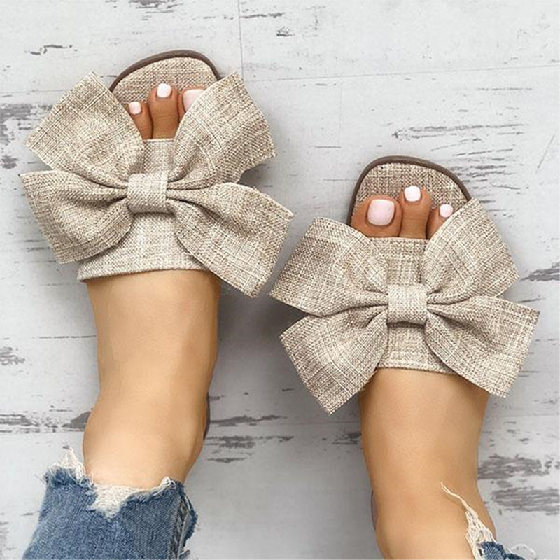 WENYUJH Womens Slippers Summer Cloth Big Bow Knot Slippers Outdoor Flat Slippers Flip Flops Female Deep Toe Beach Slipper 2019WENYUJH Womens Slippers Summer Cloth Big Bow Knot Slippers Outdoor Flat Slippers Flip Flops Female Deep Toe Beach Slipper 2019