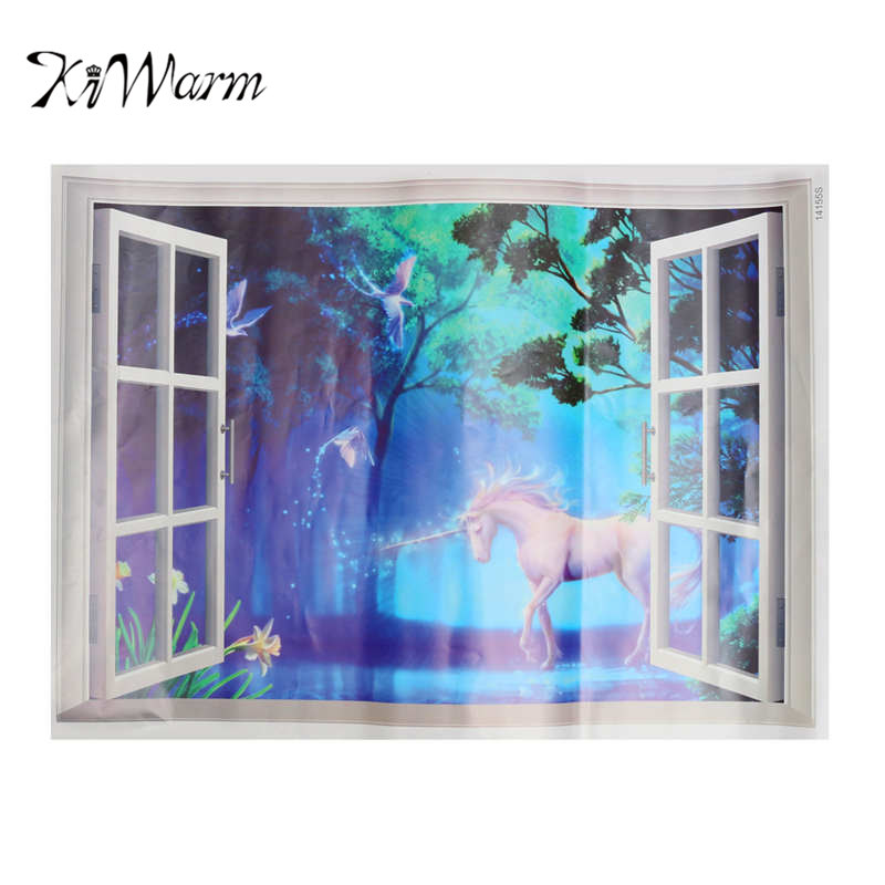KiWarm Kawaii Horse Decorative Mirrors 3D Window Magical Mural Art Home Wall Decorative Sticker For Living Room Baby Bedroom ...