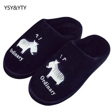 2019 Winter couple cotton slippers female indoor warm non-slip cute bag with the home month lint slippers male winter