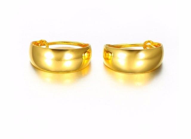 Moda Auténtico Sólido 24 k Oro Amarillo Pendiente de/Lady's Suave Pendiente/4.65g