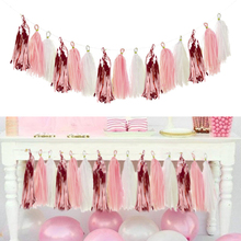 15pcs Rose Gold Paper Tassel Garland Kids Adult Happy Birthday Party Decoration First 1st Baby Boy Girl One Year Banner Supplies