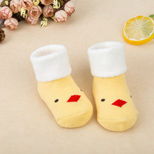 Newborn Cotton Winter Warm Baby Socks Yellow Duck Boys Girls Cute Toddler Asymmetry Anti-slip Socks Bebe Socks 0-3 years(China)