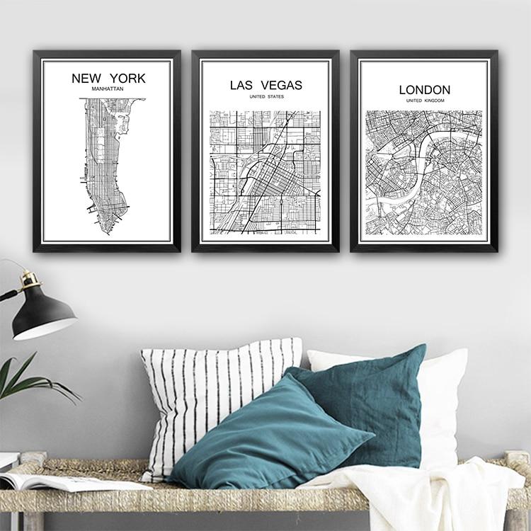 Abstraktní mapa města plakát vintage malba Kraft Plakát Starožitné nástěnné umění Řemesla Nálepka Obývací pokoj Malování Bar Kavárna Dekor 42x30cm
