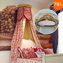 2017 Luxury Crystal top wedding princess big train queen House bed Curtain Holder Upper box bride