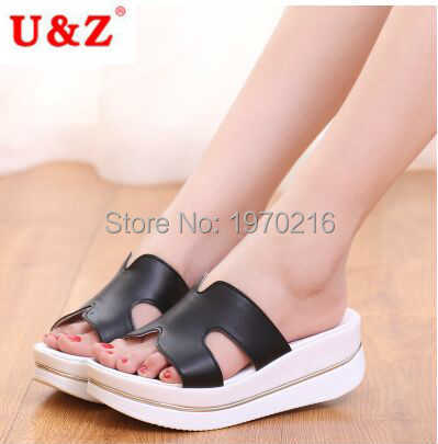 ФОТО 2016 H001 Slippers Women matte leather thick sole Sandals & slippers(black/white),Summer wedges platform shoes Plus Size 35~41