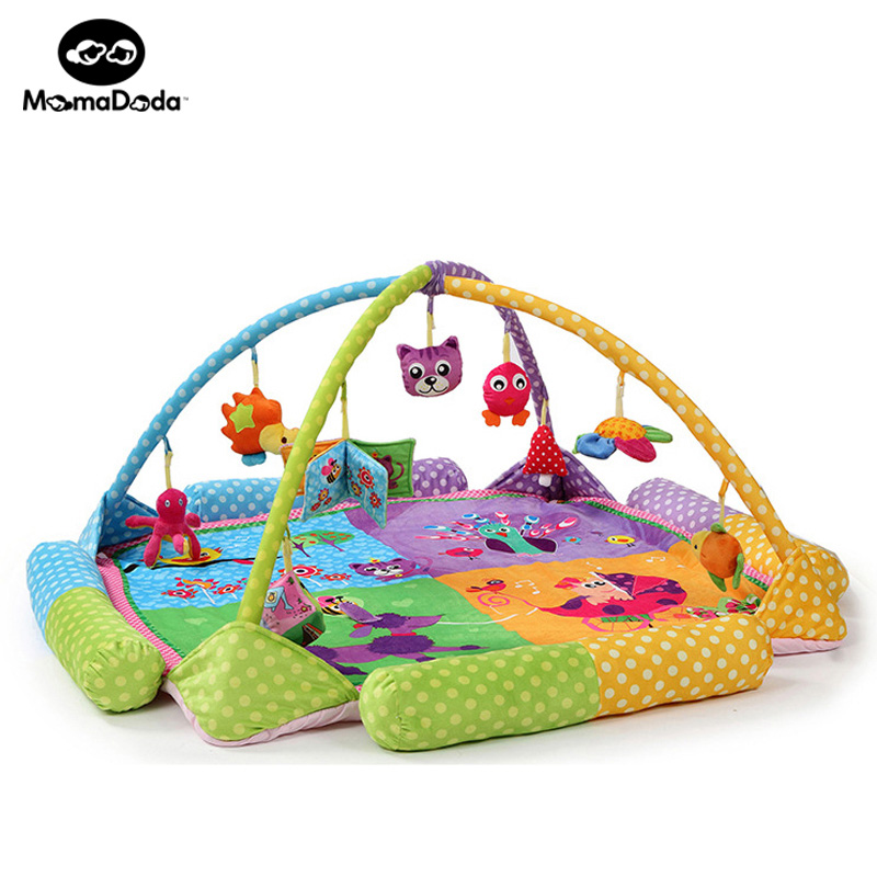 Kids Rug Baby Play Gym Mat With Rack And Rattles Soft Educational Developing Mat For Children Peacock Game Crawling Carpet цена 2017