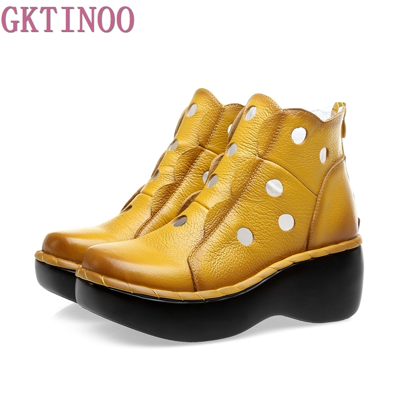 Genuine Leather Women Summer Boots Platform Wedges Round Toes Cut Out Hole Ankle Boots Vintage Woman Shoes
