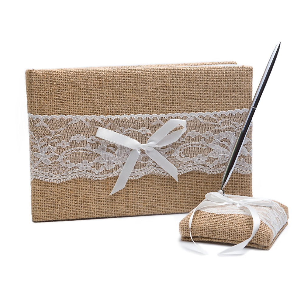 wedding guest book pen set burlap lace rustic decoration burlap