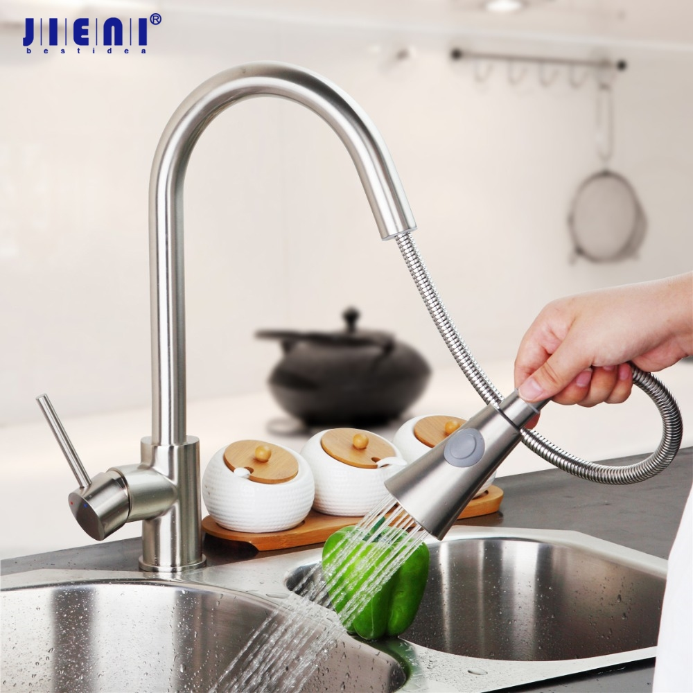 Modern New Brushed Nickel Kitchen Faucet Pull Out Single Handle Swivel Spout Vessel Sink Mixer Tap женская фетровая шляпа eozy 100% 7colors eky