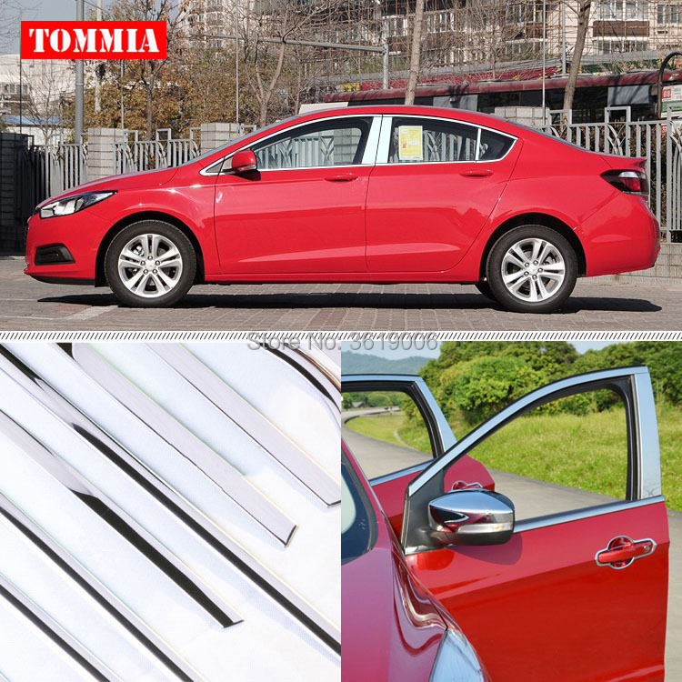 TOMMIA Full Window Middle Pillar Molding Sill Trim Chromium Styling Strips Stainless Steel For Chevrolet Cruze 2015-2016