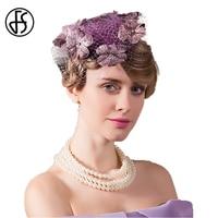 2017 Summer Ladies Wedding Hats For Women Elegant Mesh Gauze Purple Floral Fedora Hat Banquet Party
