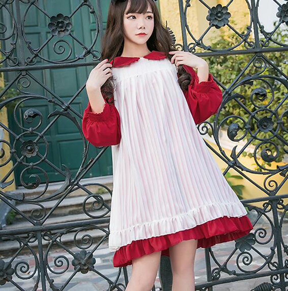 Cute Girls Lolita Dress Maid White Sleeveless Apron Peter Pan Collar Long Sleeve Costume