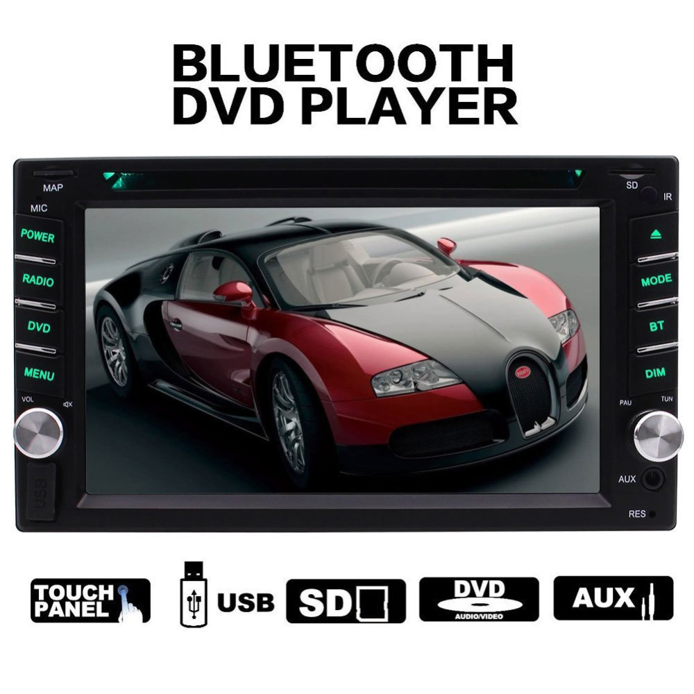 2 din In dash Car stereo DVD CD MP3 Player Radio Video Audio Bluetooth 6.2'' Touch Screen SD,USB, AUX ,Subwoofer,Radio,FM AM RDS clear stock 6 95 hd 2din capacitive touch screen car dvd player stereo radio audio bluetooth usb sd fm am cd dvd mp3 mp4