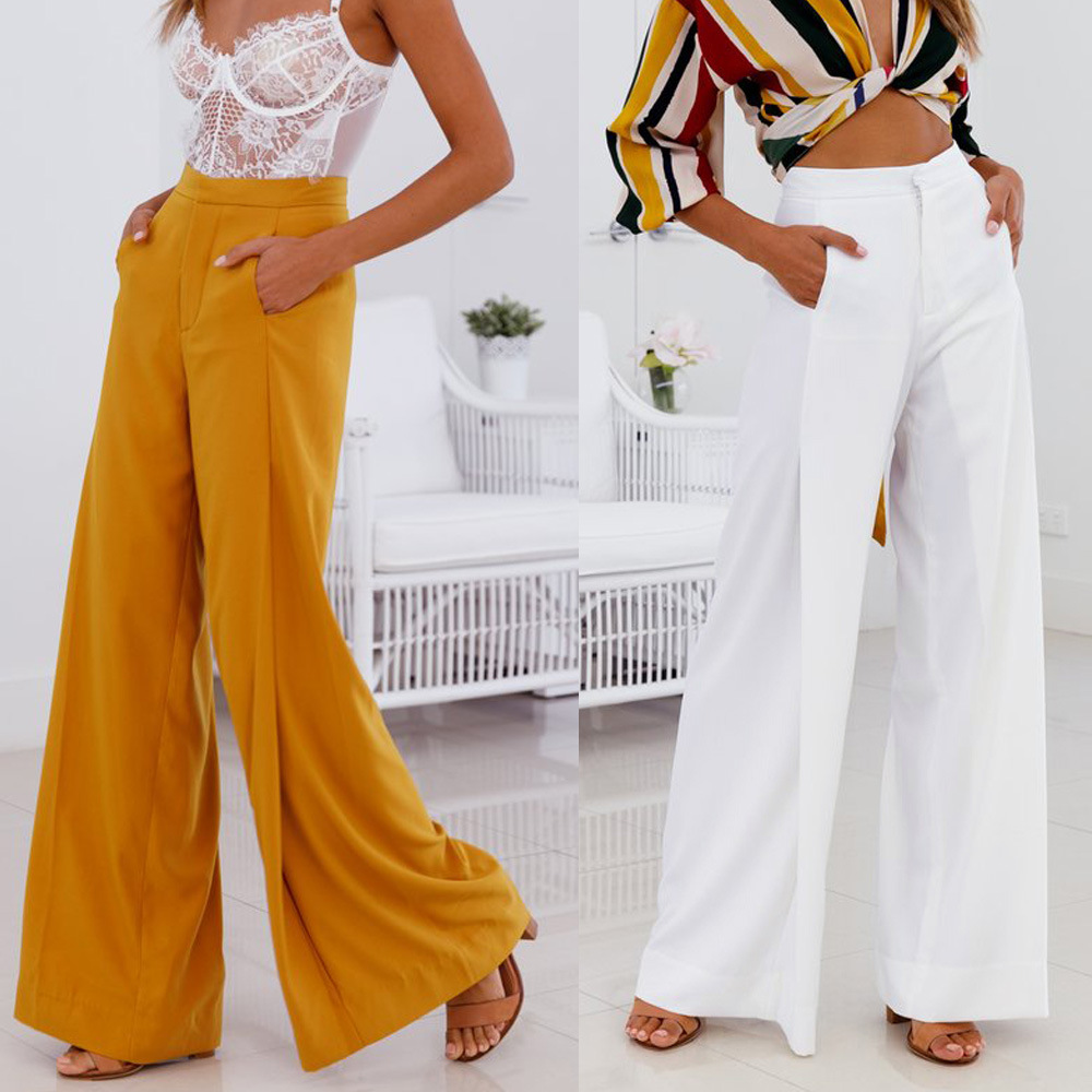 Leg-Pants Long-Trousers Office Loose White Elegant High-Waist Wide Yellow Femme Women title=