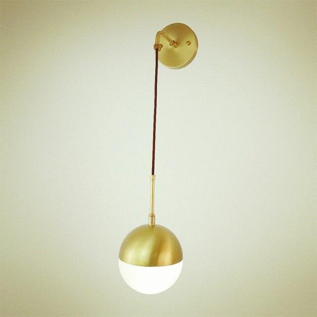 Modern indoor led brass wall lamp d150mm milk white glass shade wall modern indoor led brass wall lamp d150mm milk white glass shade wall light ac 110v aloadofball Images