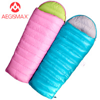 AEGISMAX Children Envelope Down Sleeping bags Filling 95% White Goose Down for Kids Outdoor Hiking Camping Blue Pink