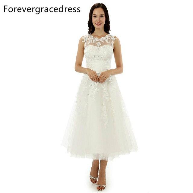 50786988ec11c Forevergracedress A Line Lace Sleeveless Wedding Dress Sexy Jewel Neck Tea  Length Short Bridal Gown Plus Size Custom Made