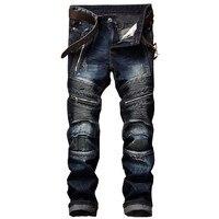 Newsosoo Men S Pleated Biker Jeans Pants Slim Fit Brand Designer Motocycle Denim Trousers For Male