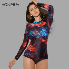 AONIHUA Cosmic Star Print One Piece Swimsuit for Women 2018 NEW Long sleeve zipper Swimwear female Push up swimming Suit 9003