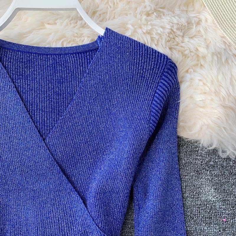 трикотажные женские с длинным рукавом осень зима сексуальное облегающее платье-свитер v-образный вырез эластичные Клубные Вечерн