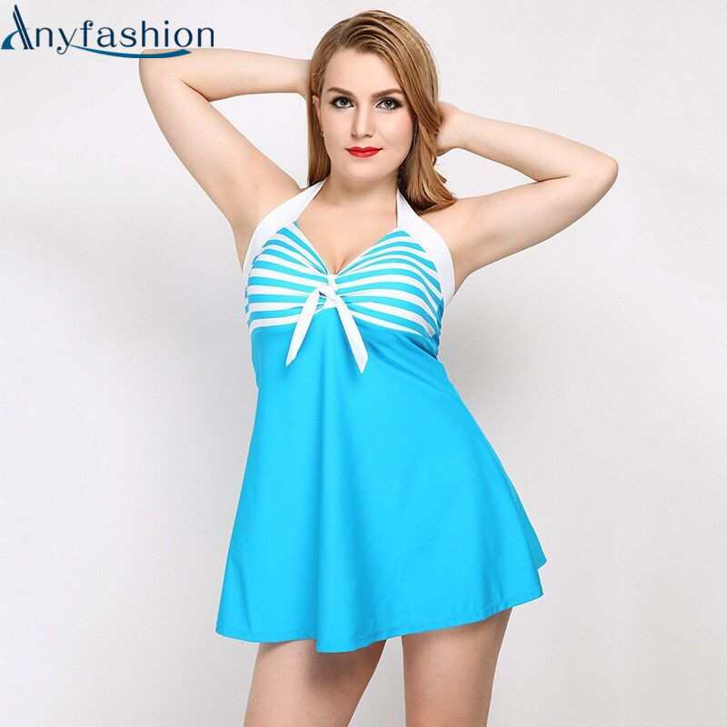 Anyfashion One Piece Swimsuit Push Up Padded Swimwear Summer Beach Women Dress Bathing Suit Large Size Swim Suit For Fat Women 2017 new one piece swimsuit push up plus size swimwear women summer sexy beach dress large size bathing suit swimming dress