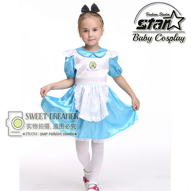 27c0c57b7a9 Kids Alice in Wonderland Costume Lolita Dresses Children Maid Cosplay Dress  Fantasia Costumes for Girl Masquerade Party Clothes