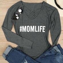 New Female Fashion V-neck Mesh Tshirt Printed Tops Women Mom Life Sexy Autumn Letters Printing Long Sleeve T-shirt Top