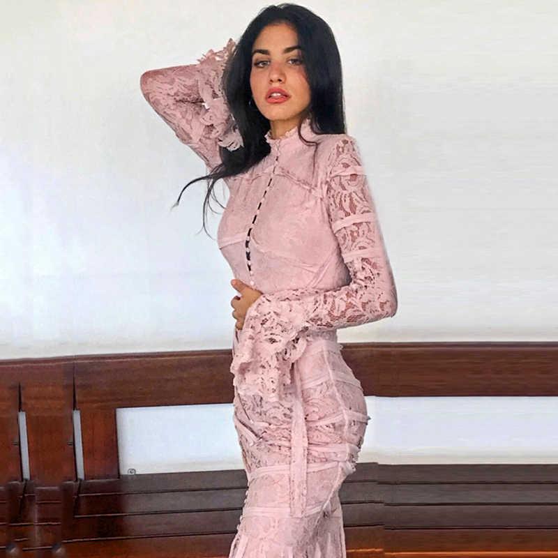 INDRESSME 2019 женское Бандажное кружевное платье с широкими расклешенными рукавами, с воротником-стойкой, новинка, сексуальная модная Русалка, Платье облегающее, Vestido, Клубные Вечерние