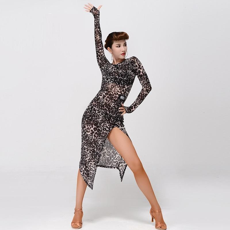 2 couleurs léopard latin danse robe femmes latina salsa robe rumba moderne danse costumes pour femmes latin robe dancewear tango