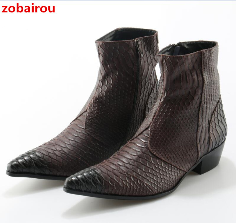 Western Style Snakeskin Pattern Ankle Boots For Men Black White Brown Botas Masculino Fashion Cowboy Boots Plus Size Men Shoes fashion black and white wide twill pattern 6cm width tie for men
