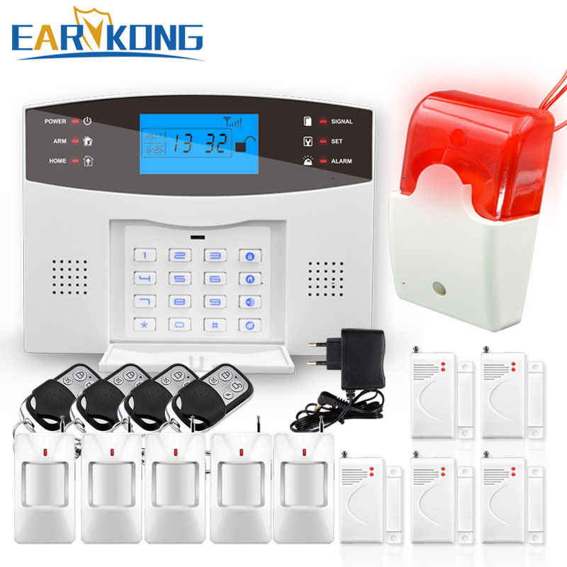 2017 New Earykong Wireless GSM Alarm System LCD Keyboard Door Winodw PIR Sensor Alarm M2B