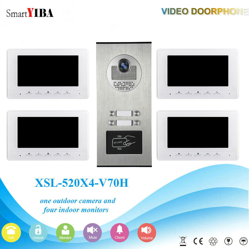SmartYIBA 4 Unit Apartment Video Intercom System Video Door Phone Doorbell Kit 7 Inch Monitor With RFID Access Door Camera