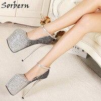 Sorbern/модные блестящие женские туфли лодочки с ремешком на щиколотке, обувь на толстой платформе, обувь для ночного клуба, обувь для вечерние,