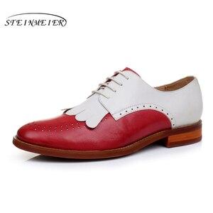 Image 4 - Yinzo zapatos planos de piel auténtica para mujer, zapatillas femeninas de estilo Oxford, en color amarillo, informales, Estilo Vintage, 2020