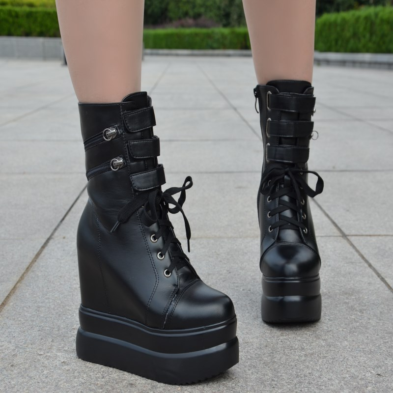 2017 autumn and winter new slope with 13cm within the thick thick knight boots Super high with the nightclub shoes Short boots цены онлайн