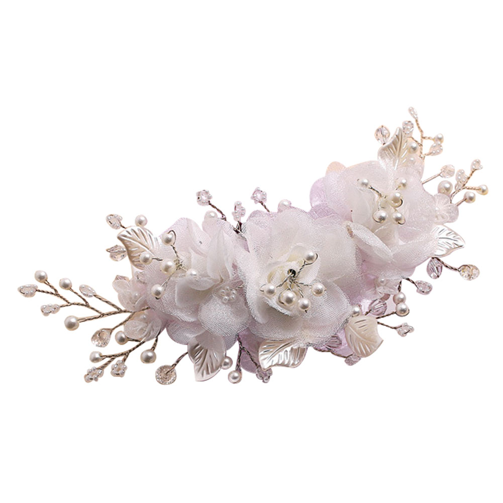 Retro Handmade Bridal Silk Flower Hair Clip With Beads And Simulated