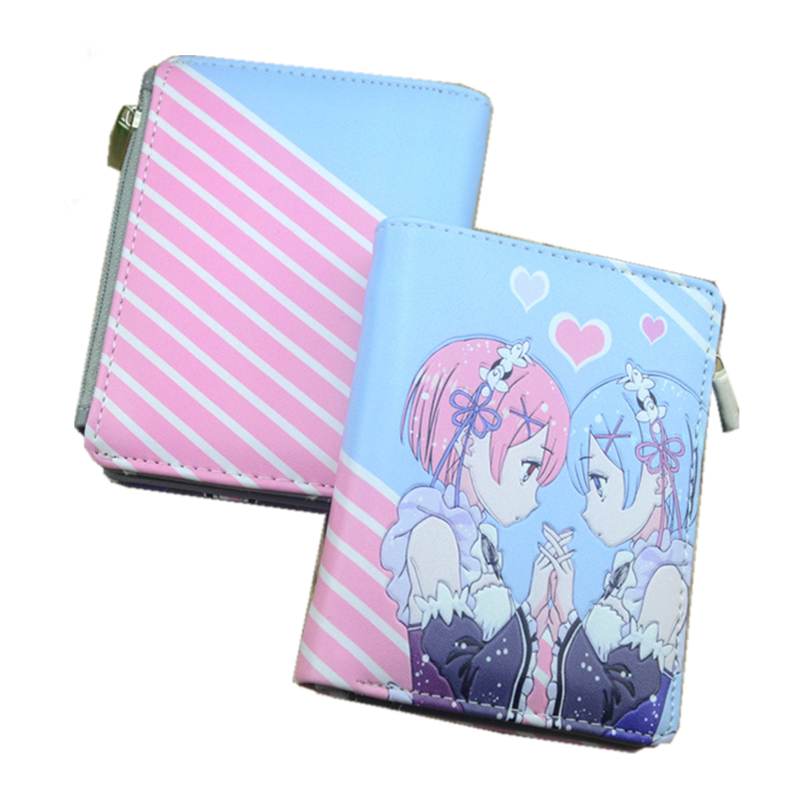 2017 Re:Life in a different world from Zero Rem Ram Hatsune Miku Women Kawaii Short Wallet Pu Leather Card Holder Anime Purse great re life in a different world from