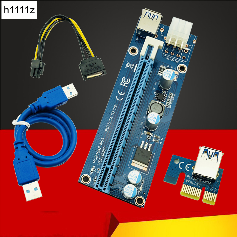 008C PC PCIe PCI-E PCI Express Riser Card 1x to 16x USB 3.0 Data Cable SATA to 6Pin IDE  ...