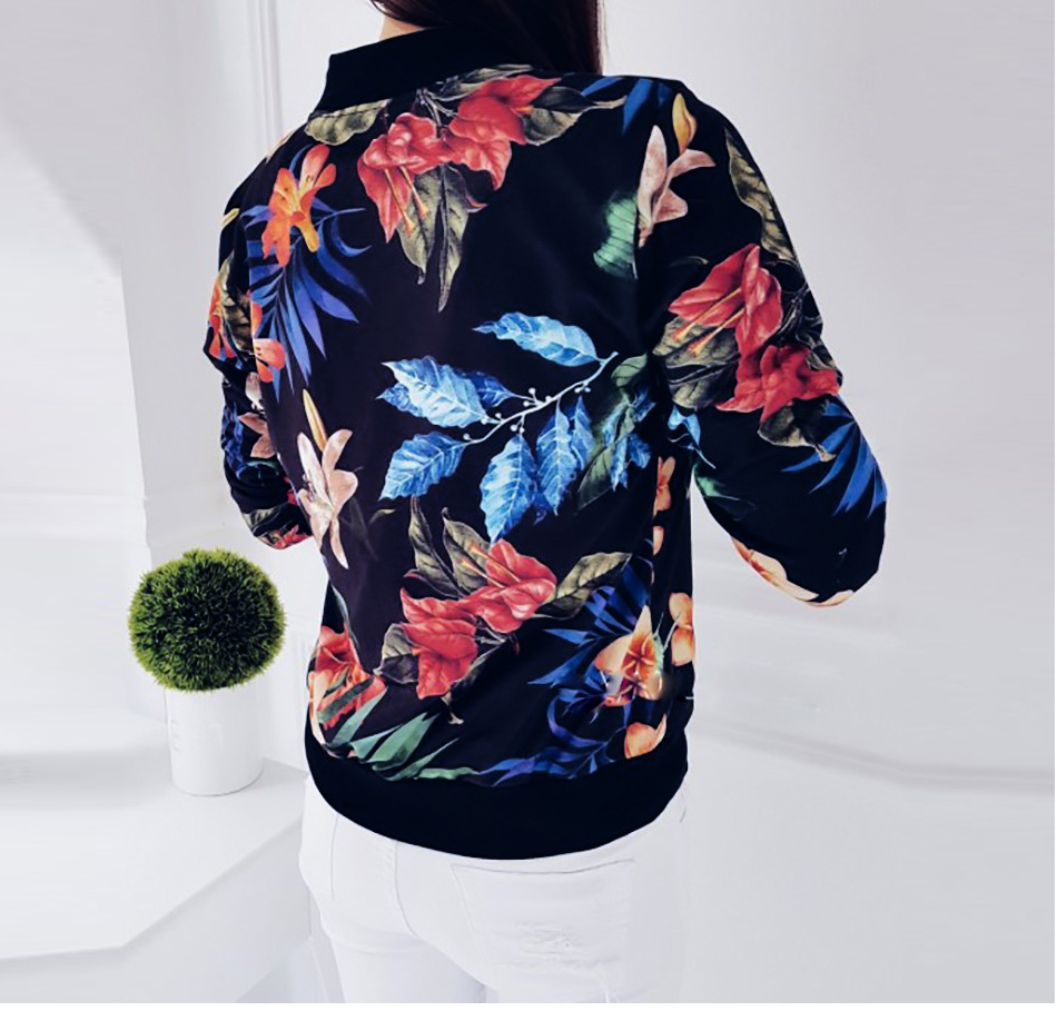 HTB1YV5INpzqK1RjSZFvq6AB7VXa0 Floral Spring Women Bomber Jacket Plus Size Short Female Coat Zipper Chaqueta Outwear Long Sleeve Women's Jackets