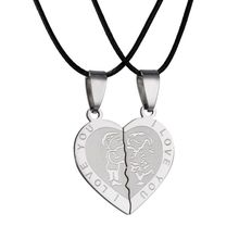 couple Necklace Broken Heart pendant necklace for women men Stainless Steel I LOVE YOU Boy girl gifts(China)