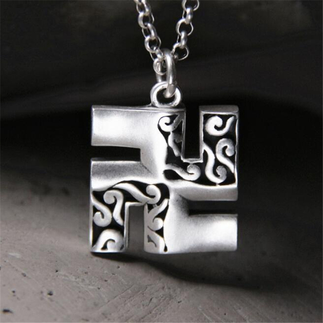 999 Sterling Silver Buddhism Peace Symbol Swastika Pendant Without