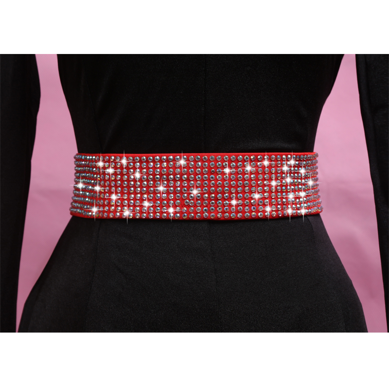 New Latin Dance Accessories 2 Colors Crystals Red/Black Waist Belt Chain Decorated Ballroom Latin Hip Scarf For Women BL1847