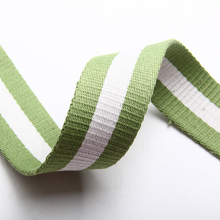 New design 38mm high quality twill cotton webbing 2.3mm heavy thick tape for sale white/green