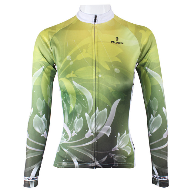 Beautiful Lily Flowers Design Cycling Jerseys BMX MTB road bike clothing Green s - xxl long sleeve bicycle jerseys for women