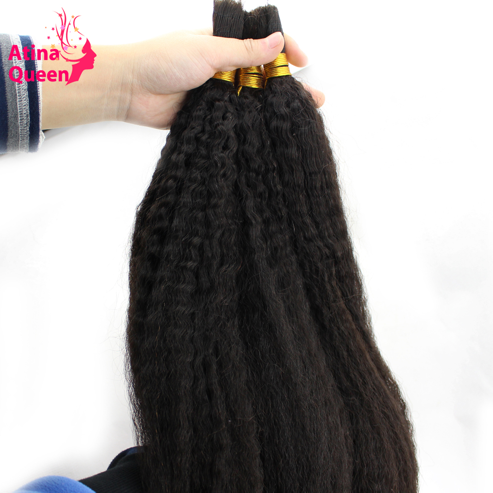 Atina Queen Kinky Straight Human Hair Bulk For Braiding non Remy 1pc Afro Italian Coarse Bundles