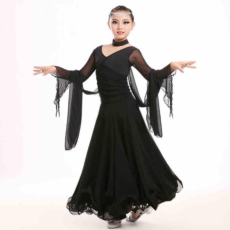 88703dac2 Chiffon Long Sleeves Standard Competition Ballroom Dance Dress Fo Girl Kids One  Piece Child Modern/Waltz/Latin Dancing/Dancewear