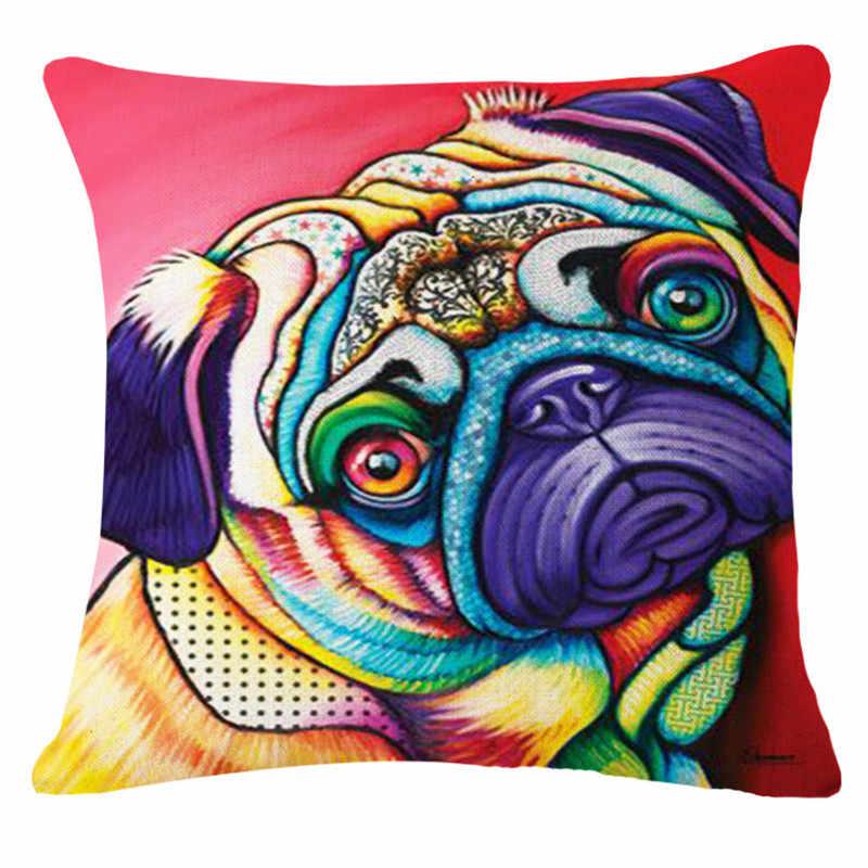 แฟชั่นคุณภาพสูงสีน้ำภาพวาดสุนัขฝรั่งเศส Bulldog รถตกแต่งโยนหมอนกรณีเบาะรองนั่งโซฟา Home Decor