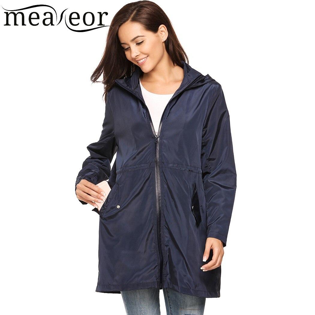 Meaneor Women's Spring Autumn Zip Up Hooded Trenchcoats Drawstring Waist Cloak Waterproof Windproof Raincoat Winter Coat
