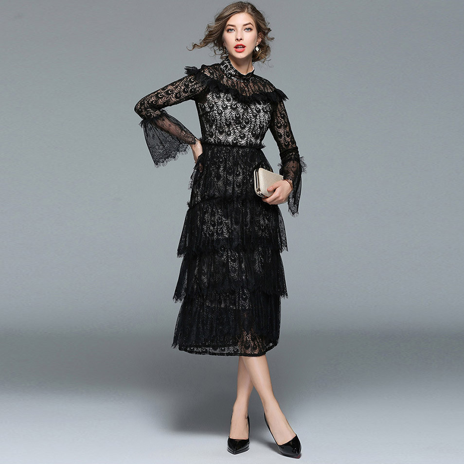 Pretty Long Sleeve Black Lace Cocktail Dress Images - Wedding Ideas ...